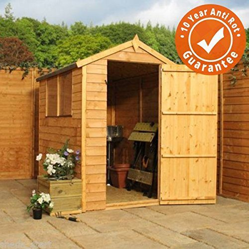 6x4 Overlap Wooden Apex Garden Shed