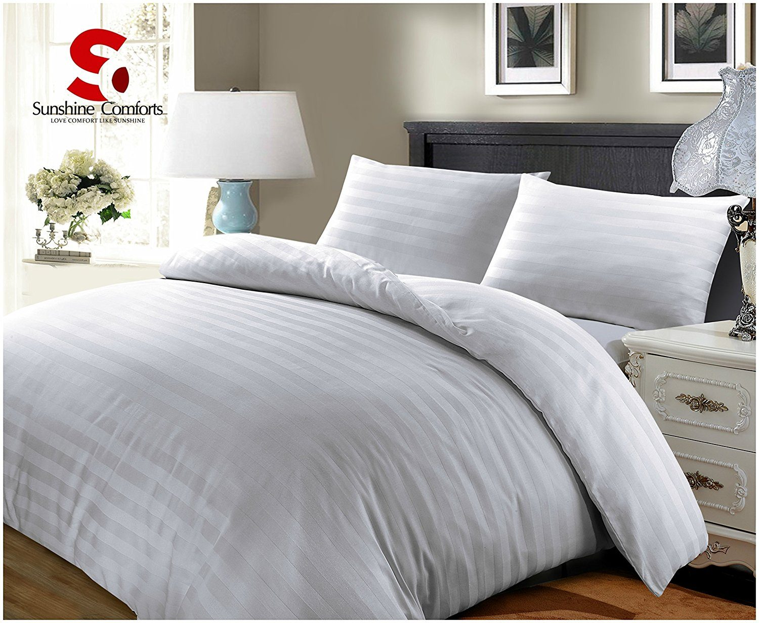 100%LUXURY HOTEL QUALITY EGYPTIAN COTTON SATIN STRIPE DUVET COVER SET