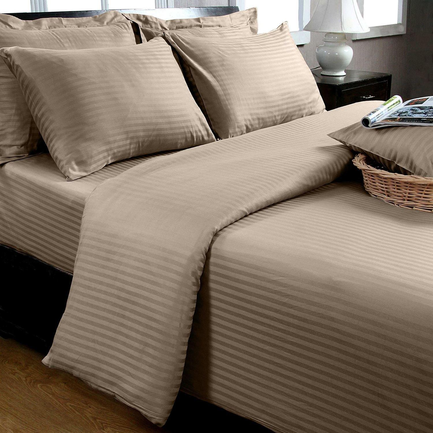 Homescapes Double Taupe Beige Egyptian Cotton Duvet Cover Set