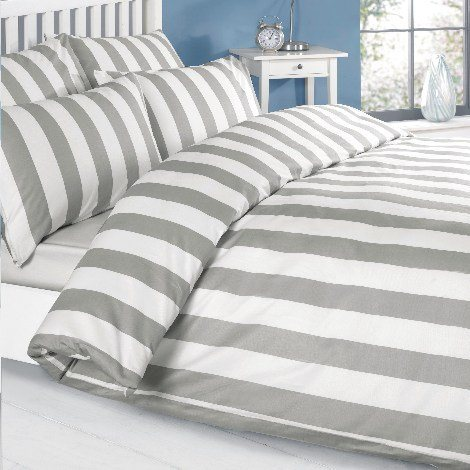 Louisiana Vertical Grey & White Stripe Duvet Cover Set