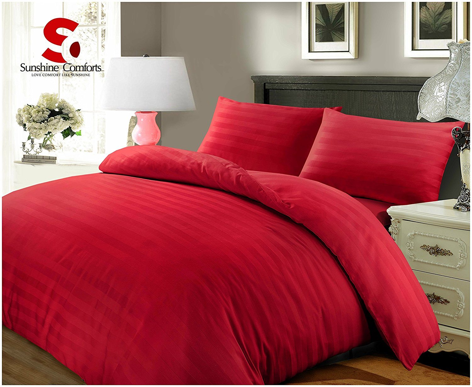 SUNSHINE COMFORTS ® 100% LUXURY HOTEL QUALITY EGYPTIAN COTTON SATIN STRIPE DUVET COVER SET