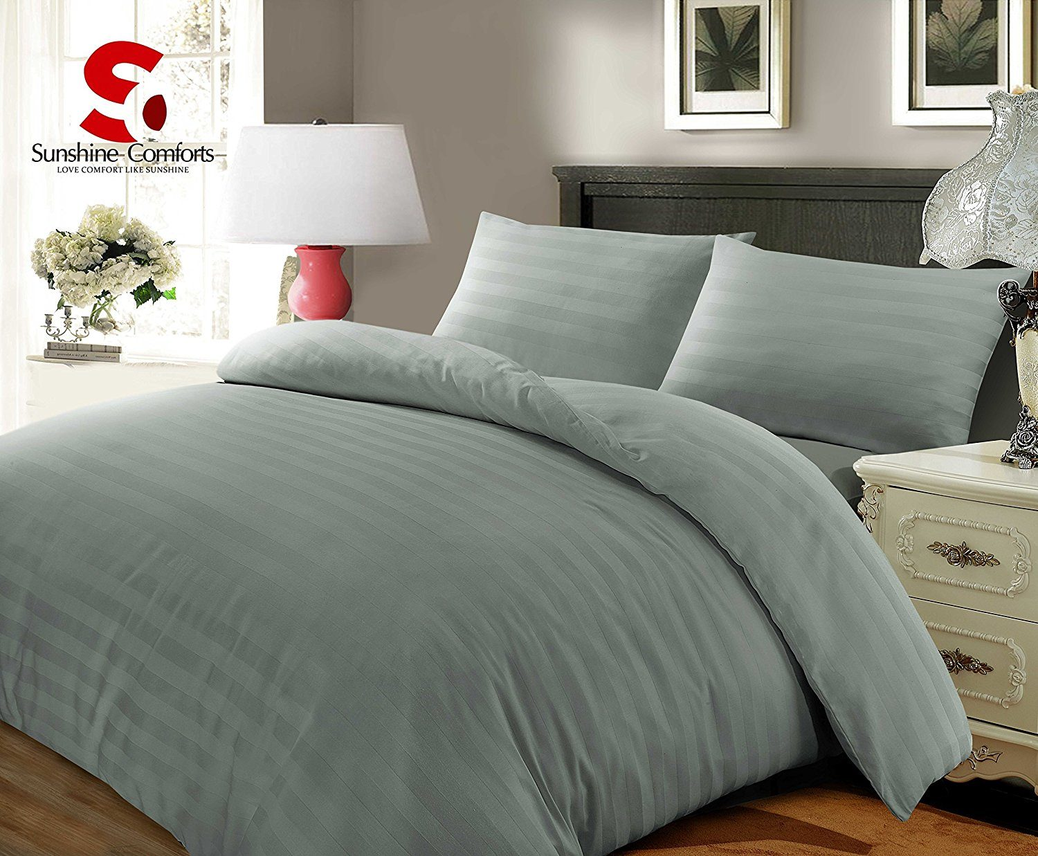 SUNSHINE COMFORTS ® 100% LUXURY HOTEL QUALITY EGYPTIAN COTTON SATIN STRIPE GREY DUVET COVER SET