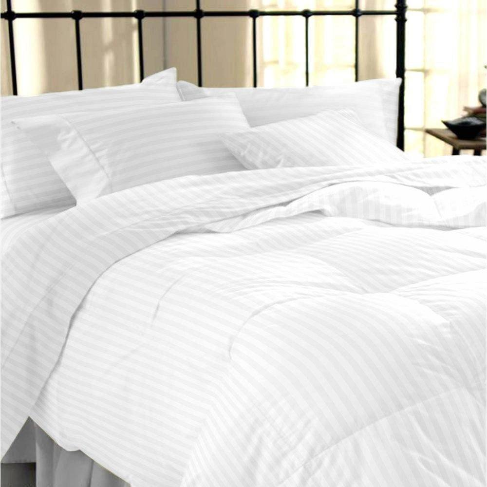 Sapphire Collection 100% Stripe TC400 Egyptian Cotton White Duvet Cover