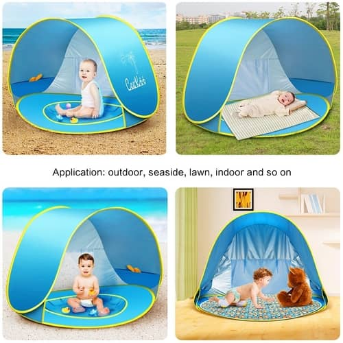 CeeKii Outdoor Automatic Pop Up Baby Beach Tent Infant Portable Cabana Shade Paddling Pool